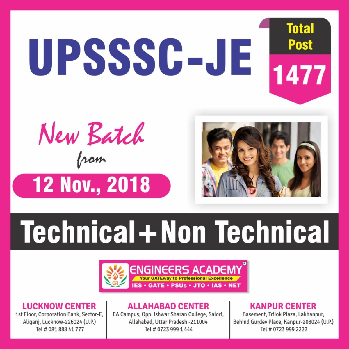 New Batches for UPSSSC – JE from 12 November 2018